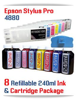 Epson Stylus Pro 4880 8 Refillable Cartridges, 8 240ml Bottles Pigment Ink, 8 funnels