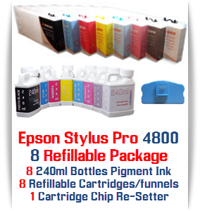 8 - Package Includes: 8 Refillable Cartridges, 8 bottles of ink  each color - 1-Photo Black, 1-Cyan, 1-Yellow, 1-Light Cyan, 1-Light Black, 1-Light Light Black, 1-Magenta, 1-Light Magenta, 8 Funnels, 1 Chip Re-Setter