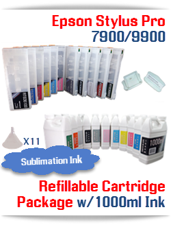 Epson Stylus Pro 7900, 9900 11 Refillable Cartridges with 11 1000ml bottles of Sublimation ink , Chip Re-Setter, 11 funnels