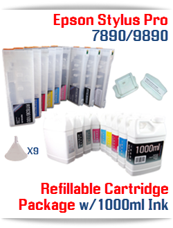 9 Refillable Cartridge Package Epson Stylus Pro 7890, 9890 printers
