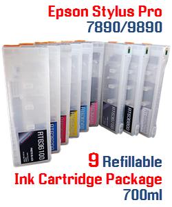 9 cartridge package Epson Stylus Pro 7890/9890 Refillable Ink Cartridges