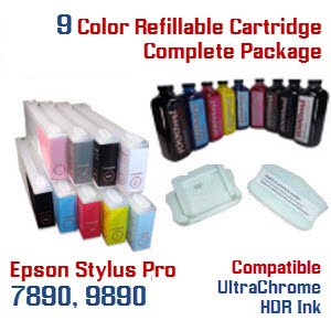 Refillable Ink Cartridge complete system for Epson Stylus Pro 7890, 9890 printers