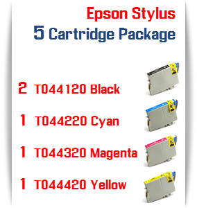 5 Cartridge Package T044 Epson Compatible Ink Cartridges
