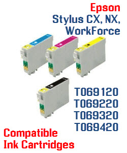 T069 Epson Stylus CX, Stylus NX, WorkForce Compatible Printer Ink Cartridges