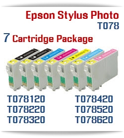 7 Cartridge Package Epson Stylus Photo T078 artridges Compatible: T048120 Black, T048220 Cyan, T048320 Magenta, T048420 Yellow, T048520 Light Cyan, T048620 Light Magenta