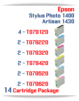 14 Cartridge Package Epson Artisan 1430, Stylus Photo 1400 Cartridges