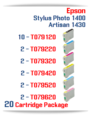 20 Cartridge Package Epson Artisan 1430, Stylus Photo 1400 Cartridges