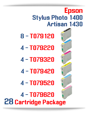 28 Cartridge Package Epson Artisan 1430, Stylus Photo 1400 Cartridges
