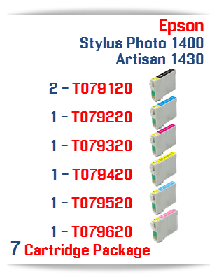 7 Cartridge Package Epson Artisan 1430, Stylus Photo 1400 Cartridges