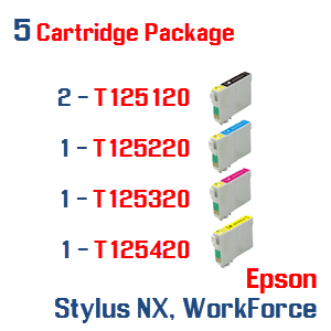 5 Cartridge Package T125 Cartridge Series Epson Stylus NX, WorkForce Compatible Ink Cartridges