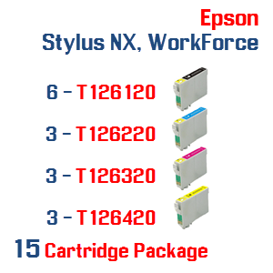 15 Cartridge Package T126 Epson Compatible Ink Cartridges