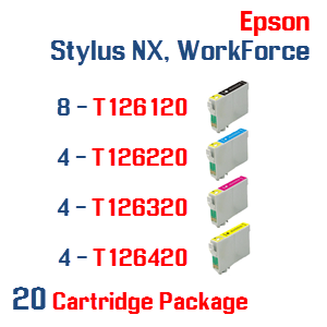 20 Cartridge Package T126 Epson Stylus NX, WorkForce Compatible Ink Cartridges