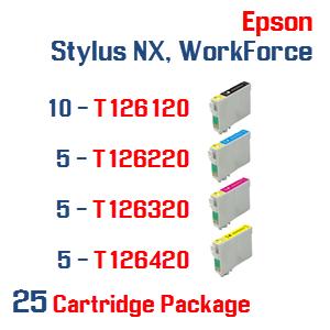25 Cartridge Package T126 Epson Stylus NX, WorkForce Compatible Ink Cartridges