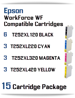 15 Cartridge Package T252XL Epson WorkForce WF Compatible Ink Cartridges