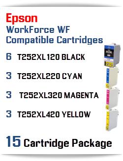 15 Cartridge Package T252XL Epson WorkForce WF Compatible Ink Cartridges