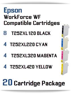 20 Cartridge Package T252XL Epson WorkForce WF Compatible Ink Cartridges