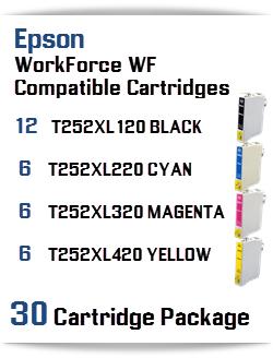 30 Cartridge Package T252XL Epson WorkForce WF Compatible Ink Cartridges