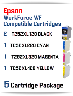 5 Cartridge Package T252XL Epson WorkForce WF Compatible Ink Cartridges