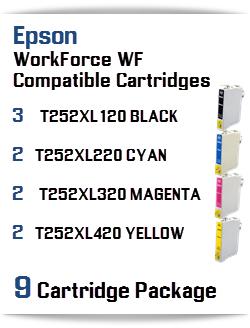 9 Cartridge Package T252XL Epson WorkForce WF Compatible Ink Cartridges