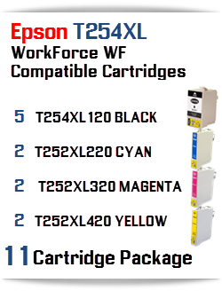 11 Cartridge Package T254XL Epson WorkForce WF Compatible Ink Cartridges