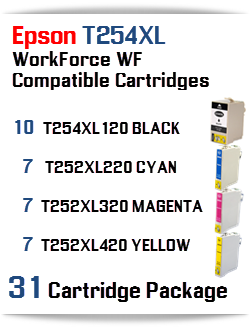 31 Cartridge Package T254XL Epson WorkForce WF Compatible Ink Cartridges