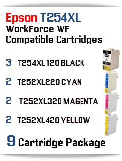 9 Cartridge Package T254XL Epson WorkForce WF Compatible Ink Cartridges