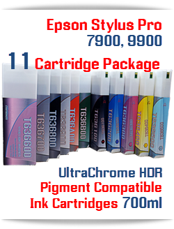 11 Cartridge Package Epson Stylus Pro 7900, 9900 Ink Cartridges 700ml