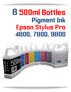 8 Color Package Pigment Ink 500ml bottles, Epson Stylus Pro 4800, 7800, 9800 printers