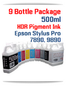 9 Bottle Package - 500ml Bottles UltraChrome HDR Compatible Pigment Ink - Epson Stylus Pro 7890, 9890 Printers