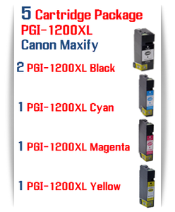 5 Cartridge Package PGI-1200XL Compatible Ink Cartridge Canon Maxify MB2020, MB2320 printers