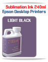 LIGHT BLACK 240ml Epson Desktop printers compatible Sublimation Ink