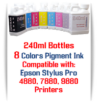 8 Bottles 240ml Compatible Pigment Ink Epson Stylus Pro 4880, 7880, 9880 printers