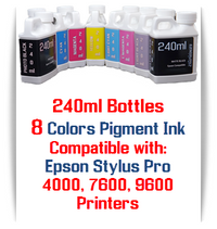 8 Colors 240ml Bottle Pigment Ink Compatible with Epson Stylus Pro 4000, 7600, 9600 Printers