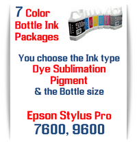 7 Bottles Compatible UltraChrome Pigment Ink or Dye Sublimation Ink Epson Stylus Pro 7600, 9600 printers