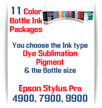 11 Bottles Compatible UltraChrome Pigment Ink or Dye Sublimation Ink Epson Stylus Pro 7900, 9900 printers
