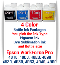 4 Color Bottle Ink packages - Epson WorkForce Pro WP-4010, WP-4020, WP-4023, WP-4090, WP-4520, WP-4530, WP-4533, WP-4540, WP-4590 Printers
