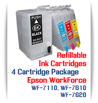 4 Refillable Cartridges Epson WorkForce WF-7110, WF-7610, WF-7620