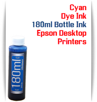 Cyan 180ml Bottle Dye Ink for Epson Small all in one Desktop Printers