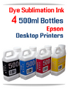 4 Color Package 500ml Dye Sublimation Ink  Works with all Epson Desktop Small Printers