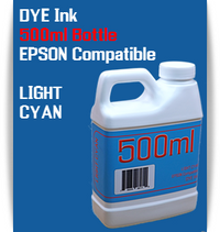 Light Cyan 500ml Dye Bottle Ink Epson Stylus Pro Printers