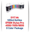 8 Color Package 500ml Photographic Dye Bottle Ink Epson Stylus Pro 4000, 7600, 9600 Printers