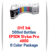 8 Color Package 500ml Bottle DYE Ink Epson Stylus Pro 4800