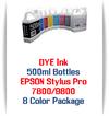 8 Color Package 500ml Bottle DYE Ink Epson Stylus Pro 7800/9800 printers