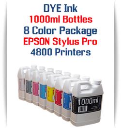 8 Color Package 1000ml Bottle DYE Ink Epson Stylus Pro 4800 printer