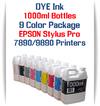 9 Color Package 1000ml Bottle DYE Ink Epson Stylus Pro 7890/9890 Printers