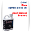 Black 240ml Pigment Bottle Ink Epson All in One Desktop Printers
