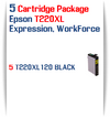 5 Black Cartridge Package - 5 T220XL120 Epson Expression XP, WorkForce WF Compatible Ink Cartridges