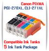 5 Cartridge Package PGI-270XL, CLI-271XL Canon Pixma Printers, 1 PGI-270XLBK Black, 1 CLI-271XLBK Black, 1 CLI-271XLC Cyan, 1 CLI-271XLM Magenta, 1 CLI-271XLY Yellow