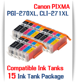 15 Cartridge Package PGI-270XL, CLI-271XL Canon Pixma Printers, 3 PGI-270XLBK Black, 3 CLI-271XLBK Black, 3 CLI-271XLC Cyan, 3 CLI-271XLM Magenta, 3 CLI-271XLY Yellow