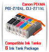 6 Cartridge Package PGI-270XL, CLI-271XL Canon Pixma Printers, 1 PGI-270XLBK Black, 1 CLI-271XLBK Black, 1 CLI-271XLC Cyan, 1 CLI-271XLM Magenta, 1 CLI-271XLY Yellow, 1 CLI-271XLGY Gray